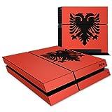 label pepper selbstklebende Designfolie Skin für PlayStation 4 / PS4 komplett - Flagge Albanien (Lieferumfang = Skin für Ober- /Unterseite, Front und Seitenteile)