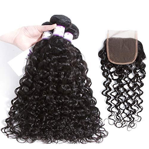 Natürliche Haarteile Bündel der Wasser-Wellen-3 mit 13 * 4 Schließungs-Menschenhaar-Bündeln mit Schließungs-Menschenhaar-Webart-Haar-Erweiterung Perücken