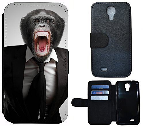 Schutz Hülle Flip Cover Handy Tasche Etui Case für (Apple iPhone 5 / 5s, 1184 Affe Gorilla Schwarz Braun) 1182 Affe Braun Schwarz Weiß
