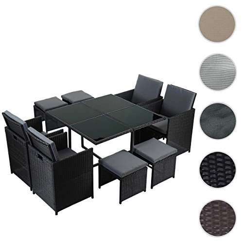 Poly-Rattan Garten-Garnitur Kreta, Lounge-Set Sitzgruppe ~ 4 Stühle schwarz, Kissen grau