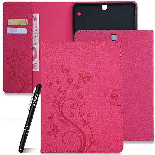 Galaxy Tab S2 9.7 Hülle Rosa,Slynmax Flip Tasche Schutzhülle für Samsung Galaxy Tab S2 9.7 T810 T815 Smart Hülle Wallet Slim Lederhülle Stoßfest Bumper Shell Ständer Kartenfächer ()
