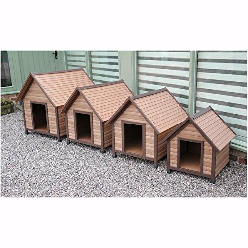 Rosewood 02061 Wetterfeste Spitzdach-Hundehütte für kleine Hunde, aus Holz und Kunststoffwerkstoff, mit verstellbaren Füßen - 3