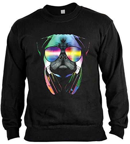 Langarm Sweatshirt, Sweater, Pulli, Pullover mit bunten Hundemotiv - DJ Pug, Mops mit Kopfhörer (Mops-boxer Für Männer)