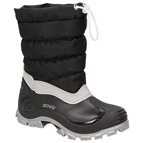 BOWS® -LEO- Mädchen Jungen Winter Stiefel Schnee Schuhe gefüttert Einhorn Unisex Kinder Winterboots Warmfutter Schurwolle auch als Limited Unicorn Edition, Schuhgröße:34, Farbe:schwarz