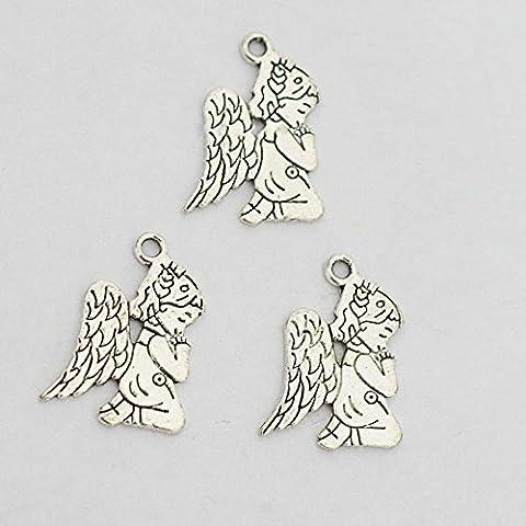 3Pcs -- prière Ange, charms, Argent prière Ange, Charm Pendentifs 24* 17mm
