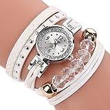 HUIHUI Uhren Damen, Geflochten Armbanduhren Günstige Uhren Wasserdicht Casual Analoge Quarz Uhr Luxus Armband Coole Uhren Lederarmband Mädchen Frau Uhr (weiß)