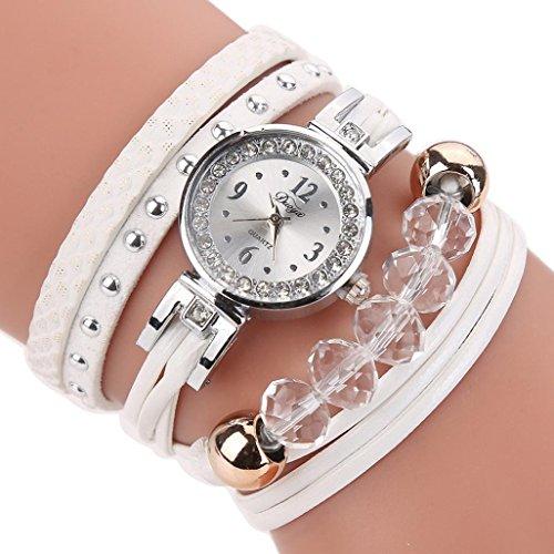 Geflochten Armbanduhren Günstige Uhren Wasserdicht Casual Analoge Quarz Uhr Armband Coole Uhren Lederarmband Mädchen Frau Uhr (weiß) ()
