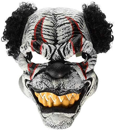 Psycho Killer Clown Ani-Motion Halloween Maske schwarz-Weiss-rot M (40/42) ()