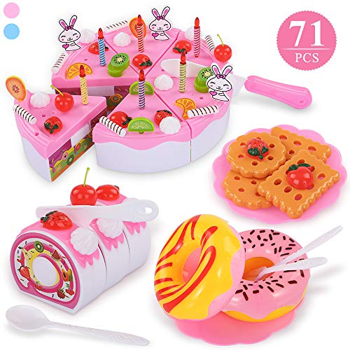 TEMI 71pcs Pretend Play Food for Kids, DIY Cutting Birthday Party Cake Toys Set w/ Candles Fruit Dessert, Early Educational Kitchen Toy for Children, Toddlers, Boys & Girls, Aged 3 4 5 Year Old, Pink