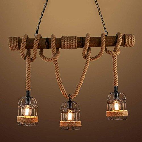 Vintage Hängelampe Pendelleuchte Seil Anhänger Lampe E27 Sockel mit Korb Holz für Wohnzimmer Esszimmer Restaurant Café Hotel Diele Dekoration (Keine Leuchtmittel) ()