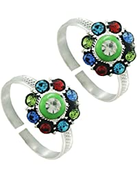Colourful Toe Ring Flower Shap .925 Sterling Silver Toe Ring For Women