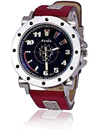 Fusine™ Fenix Premium Watch Analog Stylish Leather Watches For Men (Red)