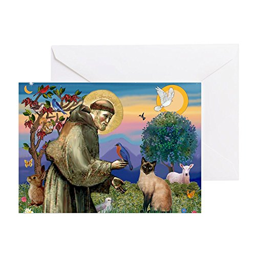 CafePress–St Francis/Siam–Grußkarte, Note Karte, Geburtstagskarte, innen blanko, matt -