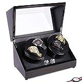 F.A.N.G.Canju 4 + 0 Automatische Uhrenwickler, Rotierende Uhren Speicherbox, 4 Modi, Holzschale, Klavier Farbe Schwarzer Glanz