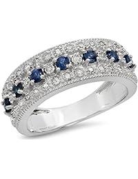 6e397f3921de 10 K oro redondo azul zafiro y blanco diamante señoras novia aniversario  boda banda anillo