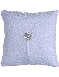 Lyanther Anillo de bodas de Satén Diamante Flower Pillow, 15cmx15cm, Blanco