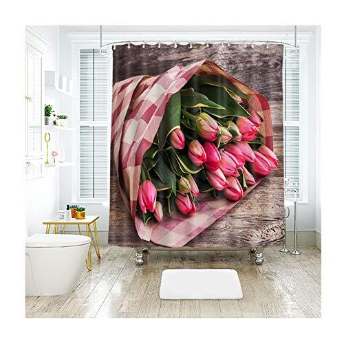 Aeici Bad Vorhang Pinke Blumen Duschvorhang Mit Ringen Duschvorhang Polyester Badewannenvorhang Anti-Schimmel Mehrfarbig 120X180Cm