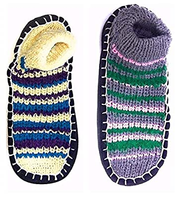 Krystle Warm Winter Slipper Socks for Women Ladies Sweet Girl Multi-Coloured Warm Knitted Booties Slipper Socks|Warm Socks for Indoor use - Soft Rubber Sole - Fast Shipping - Mix Pack of Any 2-B07HX4NHQ9