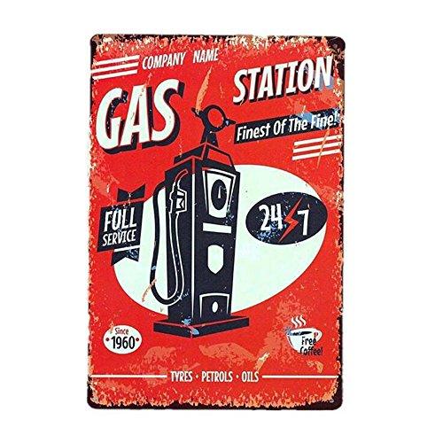 Vintage Plate Poster Metal GAS STATION pared para cafetería, bar, restaurante, club, casa 20x30cm La placa de metal parece que tiene un efecto óxido, pero no está realmente oxidada, no te preocupes.EspecialesMaterial: metalDimensión: 30x20X0,2 cmDiám...