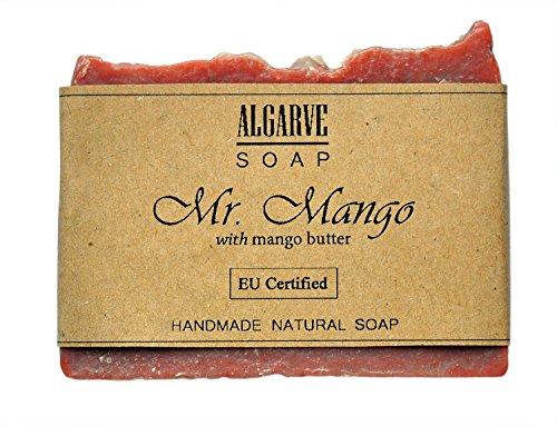 Savon au Mangue, Savon Naturel Fait Maison 130g, Crémeux et Mousseux avec Beurre de Mangue et le Sel de Mer, Algarve Soap