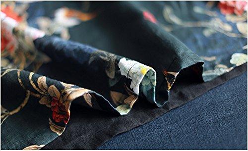 mittellang stil nationalen wind print - kleid, die neuen sommer -, große runde, locker, kurzärmeliges kleid l schwarz