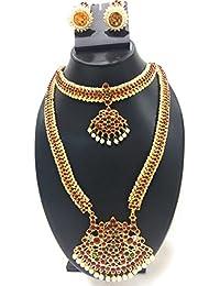 Fashion205 Fashionatelier Gold Alloy Designer Long Haaram Bridal Necklace Set For Women/Children/Girls