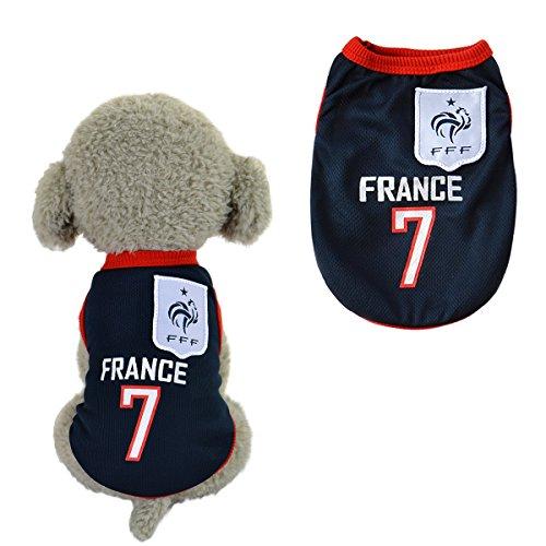 Trajes Perro Disfraz Gato Ropa para Perros Camiseta Fútbol Copa del Mundo FIFA Copa de Europa Jersey Francia (M, azul oscuro)