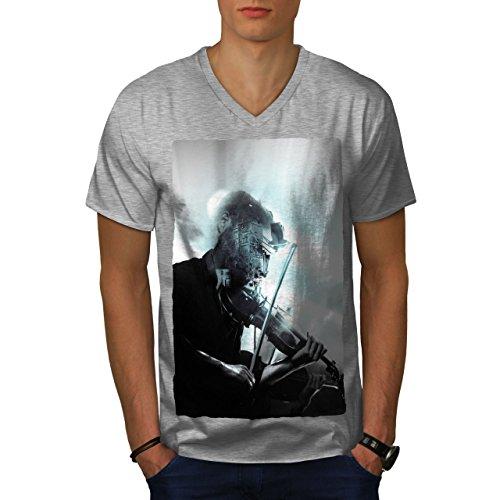 wellcoda Geige Musiker Kunst Musik Männer M V-Ausschnitt T-Shirt