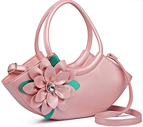 HYLM Art- und Weisedame-Handtaschen-neue Kurier-Beutel-Blumen punktierte Schulter Bagg Pink