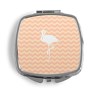 FLAMINGO WEISS Metall Taschenspiegel Kosmetik Beauty Spiegel Klappbar Bedruckt Liebe Love Design Design