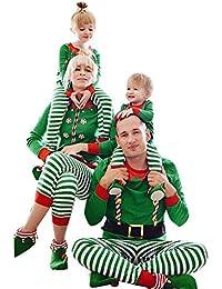 K-youth Conjunto de Familiares Ropa De Dormir Pijama de Navidad Rayas Camisetas de Manga Larga Mujer Hombre Bebé Niño Niña Mono Traje De Navidad Pijama Familia