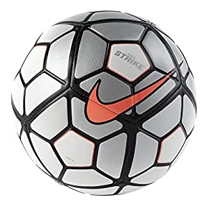 Nike Strike Ballon de football, adulte mixte, Blanco / Plata / Naranja (Wht/Slvr/Hyperorange), 5