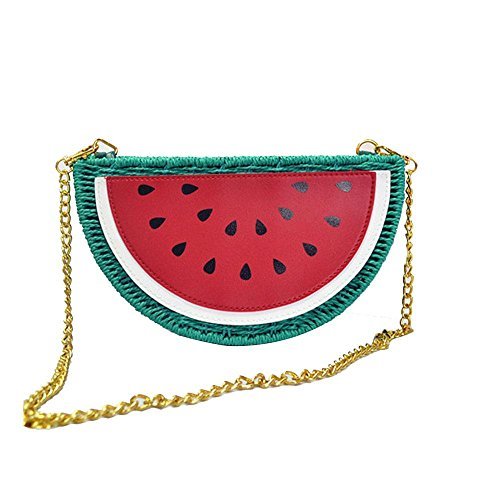 WANGXN Womens Strohbeutel Wassermelone Strandtasche Obst Handgewebte Tasche , watermelon watermelon