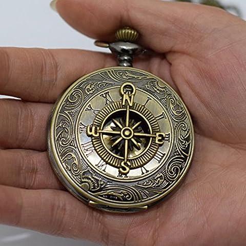Boussole Rome Rétro Montre Boussole Charms Pendentif Collier Pendentif Charm Montre Hommes de montre de poche collier pendentif montre de poche simple rond