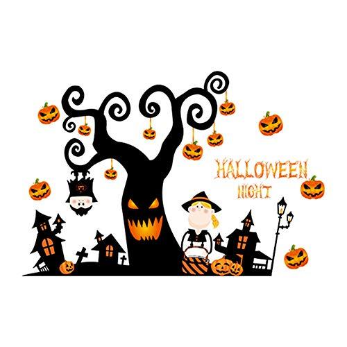 Joizo Halloween-Wand-Aufkleber Halloween-Kürbis-Laterne Nacht Wand Dekorieren Schlafzimmer Wohnzimmer Fußboden-Aufkleber-Fenster-Dekor-Vinylaufkleber