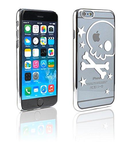 iProtect Schutzhülle Apple iPhone 6, 6s (4,7'') Hülle Totenkopf Skull Star Design in schwarz Silber Totenkopf