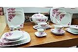 Kaiser-Handel Luxus 86 TLG. Teiliges Tafelservice für 12 Personen Porzellan EssService Teller Set Hochzeit Feier Model -Roma