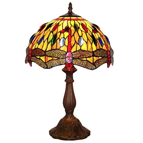 12 Zoll Tiffany Stil Schreibtischlampe/Home Decoration Lampe Europäischen Retro Cafe Shop Lampe Schlafzimmer Wohnzimmer Libelle Muster Glas Lampenschirm - Victoria 12 Licht
