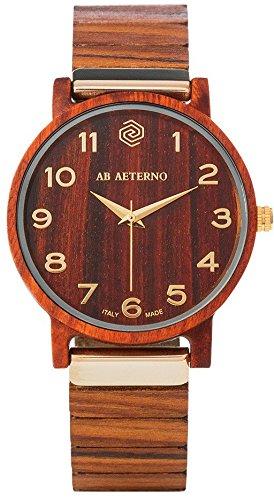 AB AETERNO Armbanduhr Leder/Sonstige analog Quarzwerk Holzband 76900126