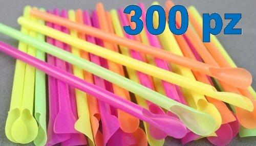 Set 300 cannucce colorate con cucchiaio