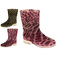 Footwear Studio Girls Purple Leopard Waterproof Wellington Boots