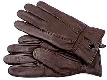 LADIES NEW SOFT LEATHER FULLY LINED GLOVES BY LORENZ 8910 (SMALL, BROWN)