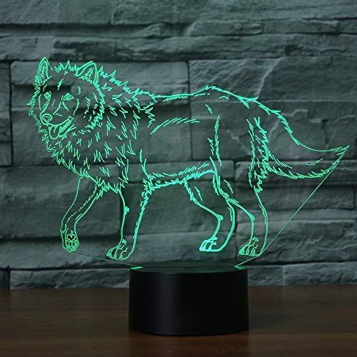3D Loup Chien Lampe Illusion Optique LED Veilleuse Optiques Illusions Lampe de Nuit 7 Couleurs Tactile Lampe de Chevet Chambre Table Art Déco Enfant Lumière de Nuit avec Cable USB