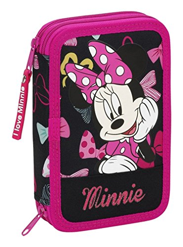 Minnie Plumier Doble Pequeño, 34 Piezas, Color Negro y Rosa