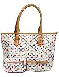 Aliado Faux Leather Printed Multi & White Zipper Closure Handbag For Women
