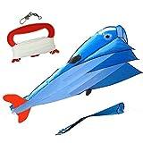 JTDEAL 3D Dolphin Kite, Aquiloni per bambini e Adulti Tessuto in poliestere, con manico e filo, 215 * 120CM, Il regalo perfetto e Divertimento Attività all'aperto per bambino(Blue )