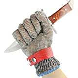 Leegoal Cut Resistant Gloves, Steel Wire Gloves Stainless Steel Cutting Gloves With Metal Wire For Kitchen Meat Cutting, Wood Carving, Operation, Packing (Short)