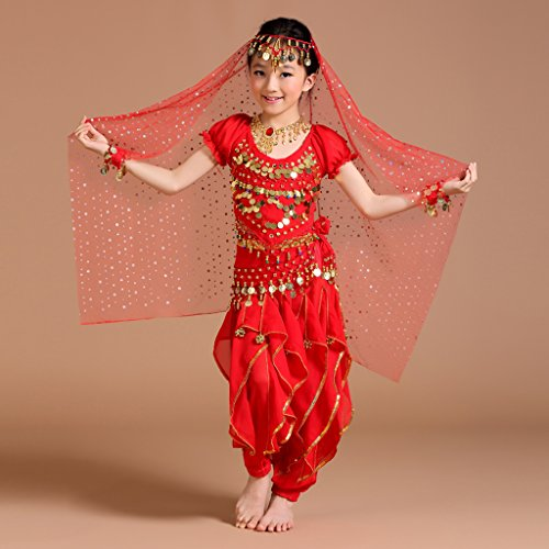 Kostüm Indian Themed - Hellery 5 / Set Mädchen Bauchtanz Kostüm Outfit Hosen Bollywood Indian Carnival Kinder - Rot, s