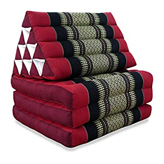 livasia 3 Fold Thailand Mattress with XXL Jumbo Asian Triangle Cushion/Headrest & 100% Kapok Filling for Wellness and Relaxation (red/black)