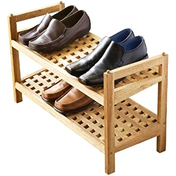 2 tier criss cross stackable walnut shoe rack for up to 8 pairs